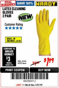 Harbor Freight Coupon LATEX CLEANING GLOVES 2 PAIR Lot No. 64184/64183 Expired: 1/31/19 - $1.49