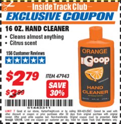 Harbor Freight ITC Coupon ORANGE GOOP 16 OZ. HAND CLEANER Lot No. 47943 Expired: 1/31/19 - $2.79