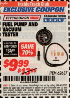 Harbor Freight ITC Coupon FUEL PUMP AND VACUUM TESTER PITTSBURGH Lot No. 62637 Expired: 7/31/19 - $9.99