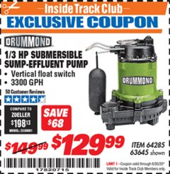Harbor Freight ITC Coupon 1/3 HP SUBMERSIBLE SUMP-EFFLUENT PUMP WITH VERTICAL FLOAT SWITCH Lot No. 64285/63645 Dates Valid: 12/31/69 - 6/30/20 - $129.99