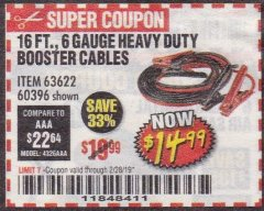 Harbor Freight Coupon 16 FT. 6 GAUGE HEAVY DUTY BOOSTER CABLES Lot No. 60396 Expired: 2/28/19 - $14.99