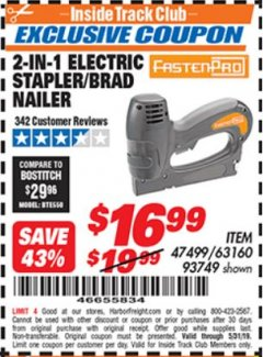 Harbor Freight ITC Coupon 2-IN-1 ELECTRIC STAPLER/BRAD NAILER Lot No. 93749 Dates Valid: 5/3/19 - 5/31/19 - $16.99
