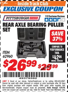 Harbor Freight ITC Coupon REAR AXLE BEARING PULLER SET Lot No. 62960 Expired: 1/31/19 - $26.99