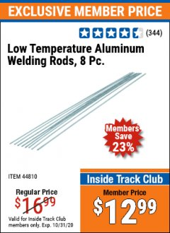 Harbor Freight ITC Coupon 8 PIECE LOW TEMPERATURE ALUMINUM WELDING RODS Lot No. 44810 Expired: 10/31/20 - $12.99