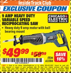 Harbor Freight ITC Coupon 9 AMP HEAVY DUTY VARIABLE SPEED RECIPROCATING SAW Lot No. 63386 Expired: 1/31/19 - $49.99