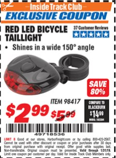 Harbor Freight ITC Coupon RED LED BICYCLE TAIL LIGHT Lot No. 98417 Expired: 1/31/19 - $2.99
