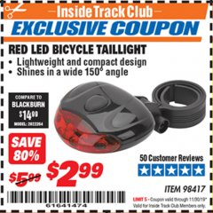 Harbor Freight ITC Coupon RED LED BICYCLE TAIL LIGHT Lot No. 98417 Expired: 11/30/19 - $2.99