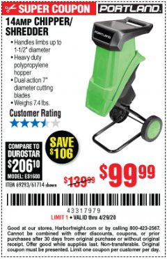 "Harbor Freight Coupon 1-1/2"" CAPACITY 14 AMP CHIPPER SHREDDER Lot No. 69293/61714 EXPIRES: 6/30/20 - $99.99"