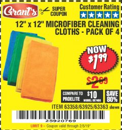 Harbor Freight Coupon MICROFIBER CLEANING CLOTHS PACK OF 4 Lot No. 69678/63358/63363/68440/63925 Expired: 2/5/19 - $1.99