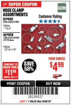 Harbor Freight Coupon 40 PIECE HOSE CLAMP ASSORTMENT Lot No. 62363/67578/60807 Expired: 9/30/18 - $4.99