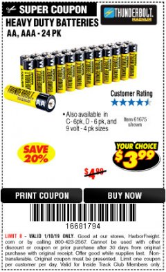 Harbor Freight ITC Coupon 24 PACK HEAVY DUTY BATTERIES Lot No. 61675/68382/61323/61677/68377/61273 Expired: 1/10/19 - $3.99