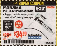 Harbor Freight Coupon HOLT PROFESSIONAL PISTOL GRIP GREASE GUN Lot No. 64381 Expired: 3/31/19 - $34.99