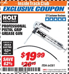 Harbor Freight ITC Coupon PROFESSIONAL PISTOL GRIP GREASE GUN Lot No. 64381 Expired: 1/31/20 - $19.99