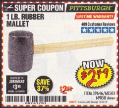 Harbor Freight Coupon 1 LB. RUBBER MALLET Lot No. 60503/69050 Expired: 10/31/19 - $2.49