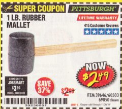Harbor Freight Coupon 1 LB. RUBBER MALLET Lot No. 60503/69050 Expired: 11/30/19 - $2.49