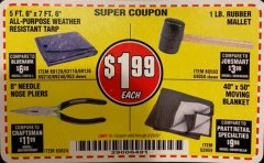 Harbor Freight Coupon 1 LB. RUBBER MALLET Lot No. 60503/69050 Expired: 2/29/20 - $1.99