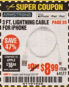 Harbor Freight Coupon 3 FT. LIGHTNING CABLE FOR IPHONE Lot No. 64577 Expired: 3/31/19 - $8.99