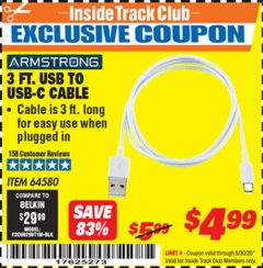 Harbor Freight ITC Coupon 3 FT. USB TO USB-C CABLE Lot No. 64580 Dates Valid: 12/31/69 - 6/30/20 - $4.99