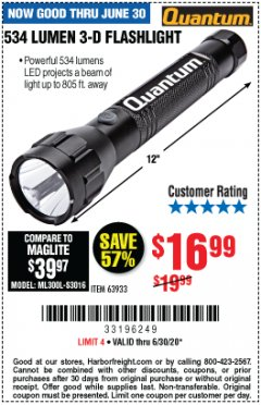 Harbor Freight Coupon 534 LUMENS 3-D FLASHLIGHT Lot No. 63933 EXPIRES: 6/30/20 - $16.99