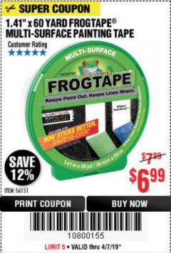 "Harbor Freight Coupon 1.41"" X 60 YARD FROGTAPE MULTI-SURFACE PAINTING TAPE Lot No. 56151 Expired: 4/7/19 - $6.99"