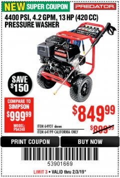 Harbor Freight Coupon 4400 PSI, 4.2 GPM, 13 HP (420 CC) PRESSURE WASHER Lot No. 64931 64199 Expired: 2/3/19 - $849.99