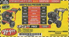 Harbor Freight Coupon 4400 PSI, 4.2 GPM, 13 HP (420 CC) PRESSURE WASHER Lot No. 64931 64199 Valid Thru: 4/30/19 - $849.99