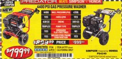 Harbor Freight Coupon 4400 PSI, 4.2 GPM, 13 HP (420 CC) PRESSURE WASHER Lot No. 64931 64199 Valid Thru: 5/31/19 - $799.99