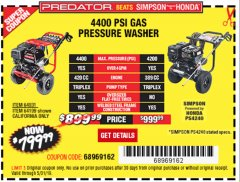 Harbor Freight Coupon 4400 PSI, 4.2 GPM, 13 HP (420 CC) PRESSURE WASHER Lot No. 64931 64199 EXPIRES: 5/31/19 - $799.99