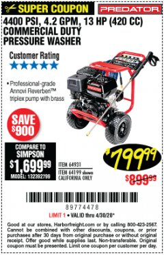 Harbor Freight Coupon 4400 PSI, 4.2 GPM, 13 HP (420 CC) PRESSURE WASHER Lot No. 64931/64199 EXPIRES: 6/30/20 - $799.99