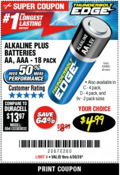 Harbor Freight Coupon THUNDERBOLT EDGE ALKALINE PLUS BATTERIES, AA, AAA - 18PK Lot No. 64490 EXPIRES: 6/30/20 - $4.99