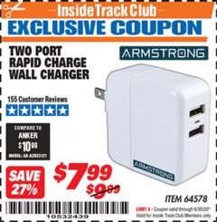 Harbor Freight ITC Coupon DUAL PORT USB WALL CHARGER Lot No. 64578 Dates Valid: 12/31/69 - 6/30/20 - $7.99