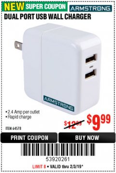 Harbor Freight Coupon DUAL PORT USB WALL CHARGER Lot No. 64578 Expired: 2/3/19 - $9.99