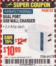 Harbor Freight Coupon DUAL PORT USB WALL CHARGER Lot No. 64578 Expired: 2/28/19 - $10.99