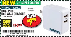 Harbor Freight Coupon DUAL PORT USB WALL CHARGER Lot No. 64578 Expired: 4/20/19 - $9.99