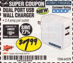 Harbor Freight Coupon DUAL PORT USB WALL CHARGER Lot No. 64578 Expired: 6/30/19 - $7.99