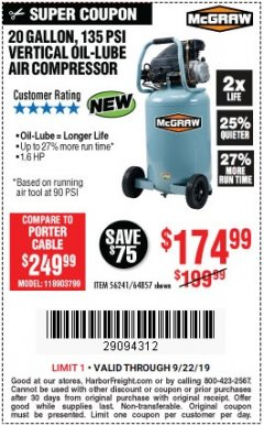 Harbor Freight Coupon MCGRAW 20 GALLON, 135 PSI OIL-LUBE AIR COMPRESSOR Lot No. 56241/64857 Valid Thru: 9/22/19 - $174.99