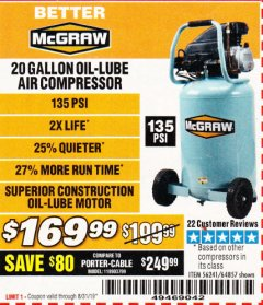 Harbor Freight Coupon MCGRAW 20 GALLON, 135 PSI OIL-LUBE AIR COMPRESSOR Lot No. 56241/64857 Valid Thru: 8/31/19 - $169.99