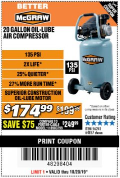 Harbor Freight Coupon MCGRAW 20 GALLON, 135 PSI OIL-LUBE AIR COMPRESSOR Lot No. 56241/64857 Expired: 10/20/19 - $174.99