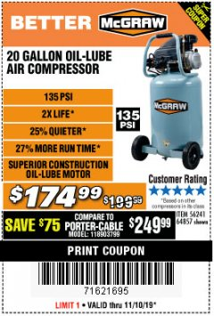 Harbor Freight Coupon MCGRAW 20 GALLON, 135 PSI OIL-LUBE AIR COMPRESSOR Lot No. 56241/64857 Expired: 11/10/19 - $174.99