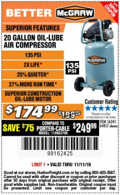 Harbor Freight Coupon MCGRAW 20 GALLON, 135 PSI OIL-LUBE AIR COMPRESSOR Lot No. 56241/64857 Expired: 11/11/19 - $174.99