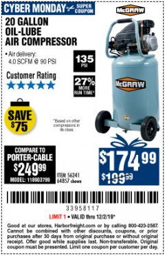 Harbor Freight Coupon MCGRAW 20 GALLON, 135 PSI OIL-LUBE AIR COMPRESSOR Lot No. 56241/64857 Expired: 12/2/19 - $174.99