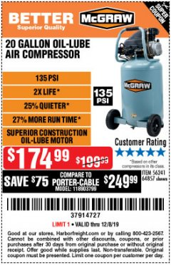 Harbor Freight Coupon MCGRAW 20 GALLON, 135 PSI OIL-LUBE AIR COMPRESSOR Lot No. 56241/64857 Expired: 12/8/19 - $174.99