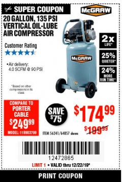 Harbor Freight Coupon MCGRAW 20 GALLON, 135 PSI OIL-LUBE AIR COMPRESSOR Lot No. 56241/64857 Expired: 12/22/19 - $174.99