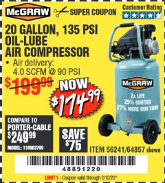 Harbor Freight Coupon MCGRAW 20 GALLON, 135 PSI OIL-LUBE AIR COMPRESSOR Lot No. 56241/64857 Valid Thru: 2/12/20 - $174.99