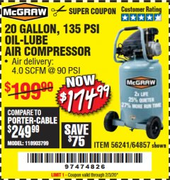 Harbor Freight Coupon MCGRAW 20 GALLON, 135 PSI OIL-LUBE AIR COMPRESSOR Lot No. 56241/64857 Valid Thru: 2/3/20 - $174.99
