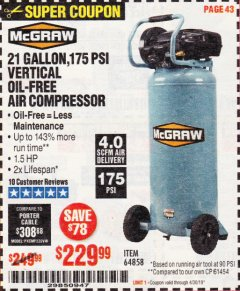 Harbor Freight Coupon MCGRAW 175 PSI, 21 GALLON VERTICAL OIL-FREE AIR COMPRESSOR Lot No. 64858 Expired: 4/30/19 - $229.99