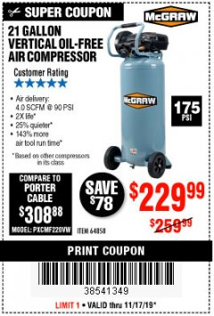 Harbor Freight Coupon MCGRAW 175 PSI, 21 GALLON VERTICAL OIL-FREE AIR COMPRESSOR Lot No. 64858 Expired: 11/17/19 - $229.99