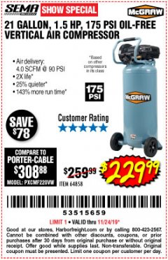 Harbor Freight Coupon MCGRAW 175 PSI, 21 GALLON VERTICAL OIL-FREE AIR COMPRESSOR Lot No. 64858 Expired: 11/24/19 - $229.99