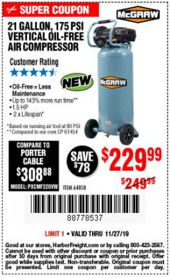 Harbor Freight Coupon MCGRAW 175 PSI, 21 GALLON VERTICAL OIL-FREE AIR COMPRESSOR Lot No. 64858 Expired: 11/27/19 - $229.99