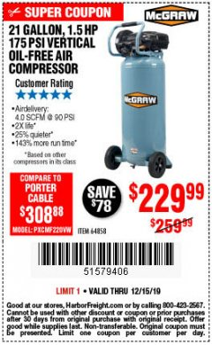 Harbor Freight Coupon MCGRAW 175 PSI, 21 GALLON VERTICAL OIL-FREE AIR COMPRESSOR Lot No. 64858 Expired: 12/15/19 - $229.99